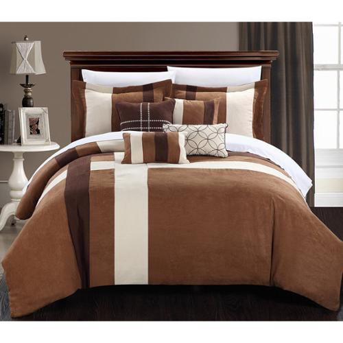 Chic Home Reginald 7-piece Plush Microsuede Comforter Bed in a Bag Set Brown/Cream-Queen
