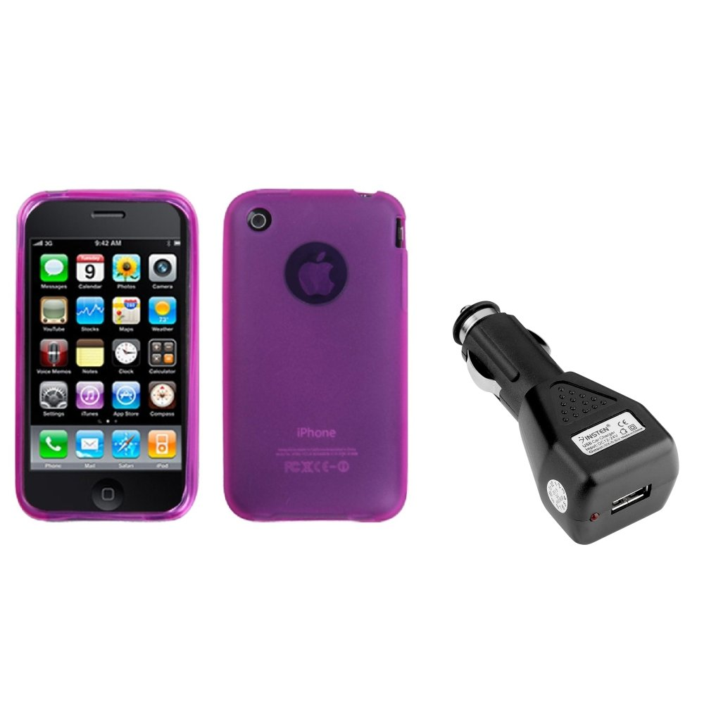 Insten Semi Transparent Hot Pink Case (NO Package For iPhone 3G/3GS+USB Car Charger