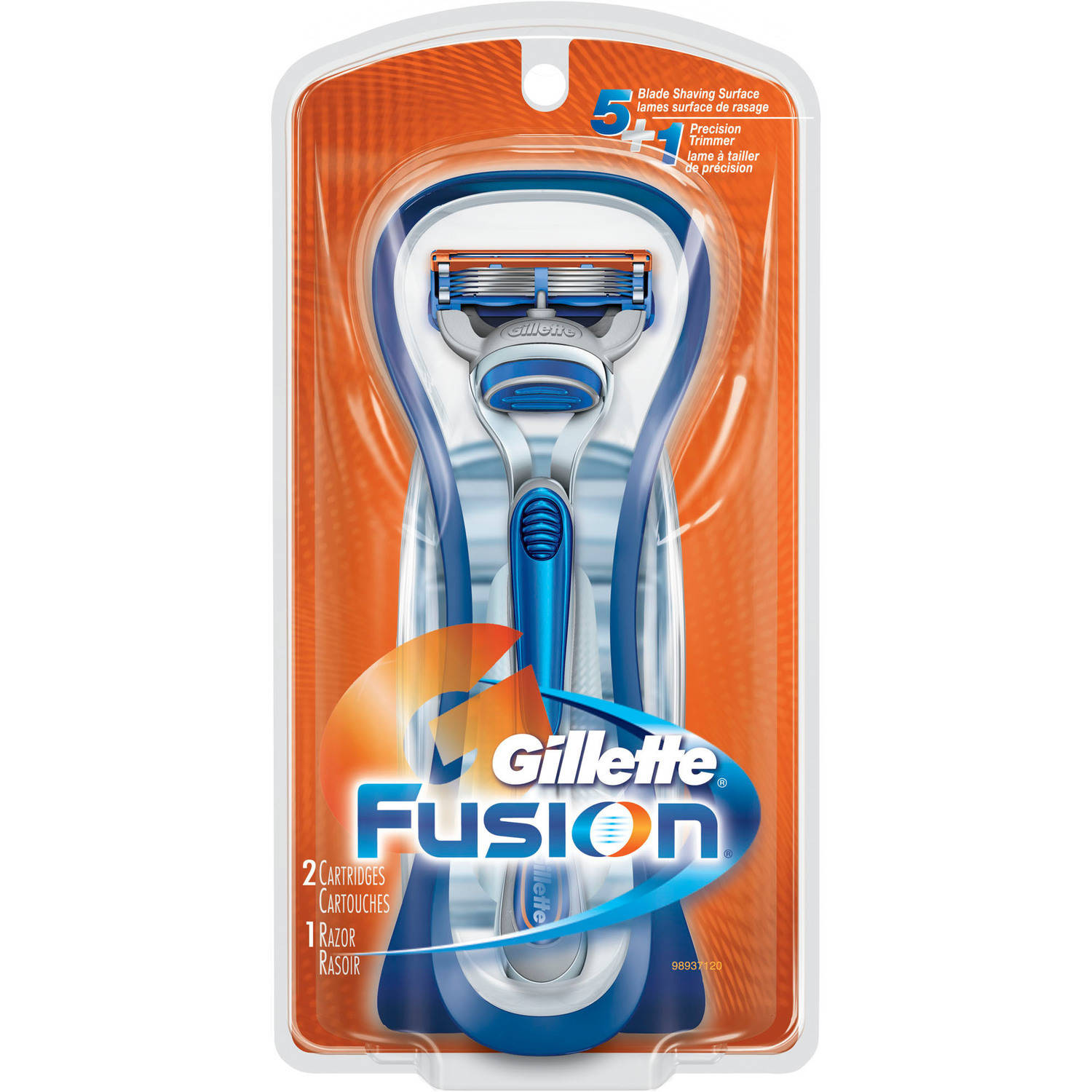 Gillette Fusion Manual Razor with 2 Cartridges, 3 pc