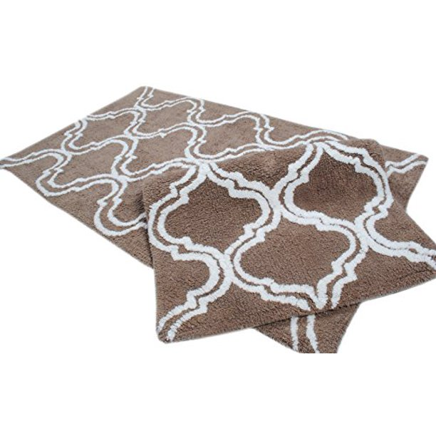 Trendsetter Homez Mocha Bath Rugs 2 Piece Bathmat Set Trellis Collection Anti Skid Latex Backing 100 Cotton Tufted Thick Bathmat Size 21 X 34 17 X 24 Inches Machine Washable Bathroom Rugs Walmart Com Walmart Com