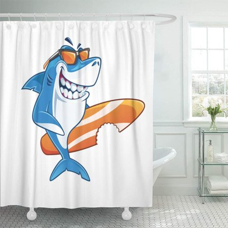 KSADK Blue Smile Smiling Shark Surfer Cartoon Character with Sunglasses Holding Surfboard Shower Curtain 66x72 (Cartoon Shark With Sunglasses)