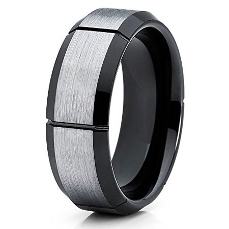 5fd90412d124 Silly Kings - Tungsten Wedding Band Brushed Silver Tungsten Ring 8mm  Tungsten Carbide Groove Black Men Women Comfort Fit - Walmart.com