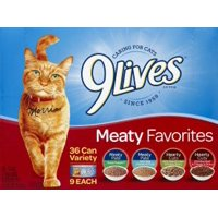 (36 Pack) 9Lives Meaty Favorites Variety Pack, 5.5 oz. Cans