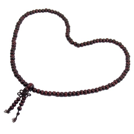 Prayer Bead Necklace - Dark Brown Sandalwood Prayer Beads Buddha Buddhist Mala Necklace 48cm