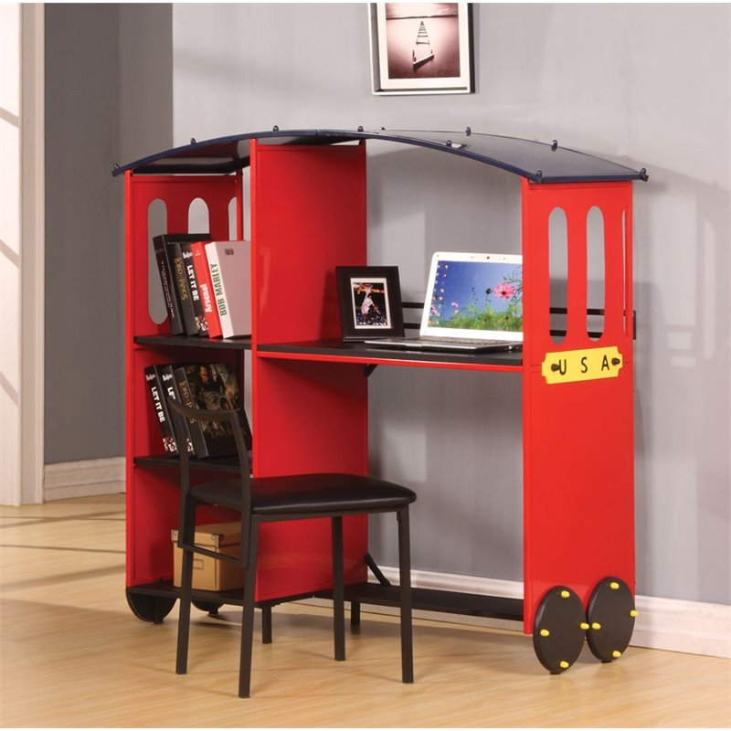 ACME Furniture Tobi Desk and Bookcase in Red and Black by Acme Furniture