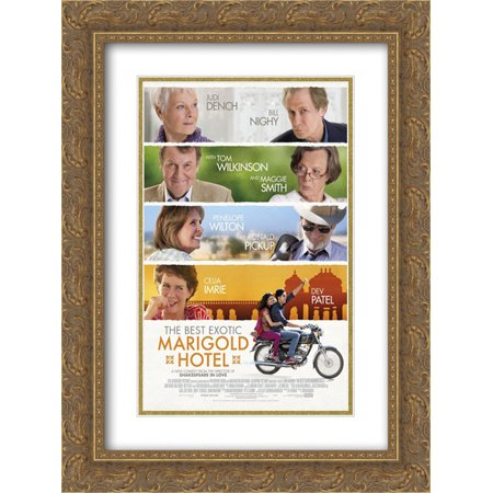 The Best Exotic Marigold Hotel 18x24 Double Matted Gold Ornate Framed Movie Poster Art