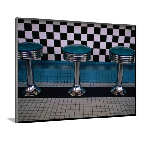 Stools at Classic Diner with Checkerboard Tiling, New Mexico, USA Wood Mounted Print Wall Art By Ralph Lee Hopkins