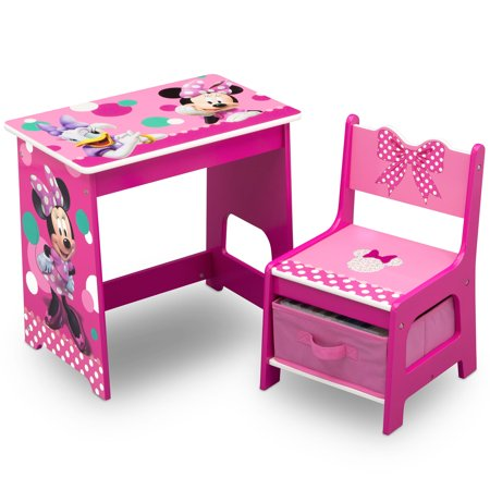 Disney Minnie Mouse Kids Wood Desk and Chair Set by Delta Children](Minnie Mouse Table And Chair Set)