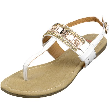 Alpine Swiss Women's Sandals T-Strap Rhinestone Suede Footbed Slingback Thongs