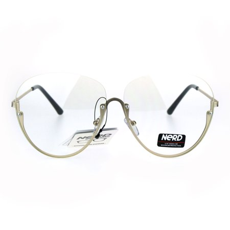 Womens Oversize Granny Upside Down Half Rim Clear Lens Eye Glasses Gold - Gold Rim Glasses