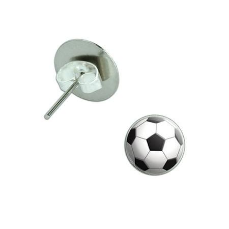 Ball Drop Pierced Earrings (Soccer Ball Sporting Goods Sportsball Pierced Stud)