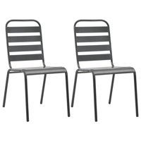 WALFRONT Stackable Outdoor Chairs 2 pcs Steel Gray