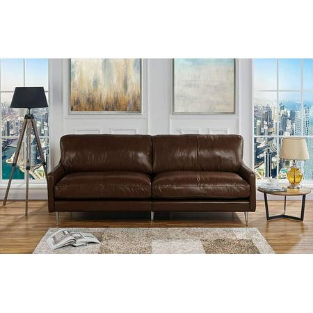 Mid Century Modern Plush Leather Living Room Sofa (Dark Brown)