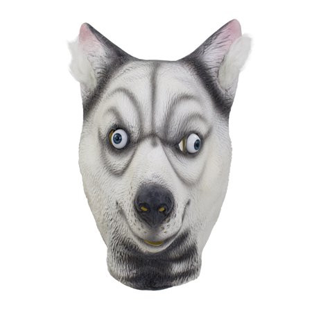 Halloween Cosplay Dress up Funny Animal Cartoon Head Latex Mask (Funny Husky)