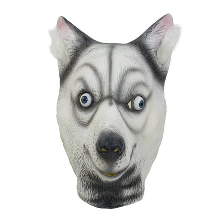 Halloween Cosplay Dress up Funny Animal Cartoon Head Latex Mask (Funny Husky) - Halloween Photos Funny