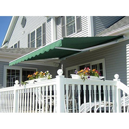 Mcombo 13x8 Ft Manual Retractable Patio Deck Awning Sunshade Shelter Outdoor Canopy Green