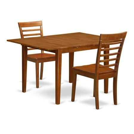 Set Milan with Leaf & 2 Hardwood Seat Chairs, Saddle Brown - 3 Piece