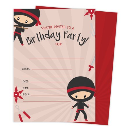 Ninja Boy 1 Happy Birthday Invitations Invite Cards (25 Count) With Envelopes & Seal Stickers Vinyl Boys Kids Party