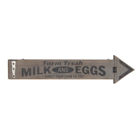 Decmode Farmhouse Wood And Metal Farm Fresh Milk And Eggs Arrow-Shaped Decorative Wall Sign, Gray