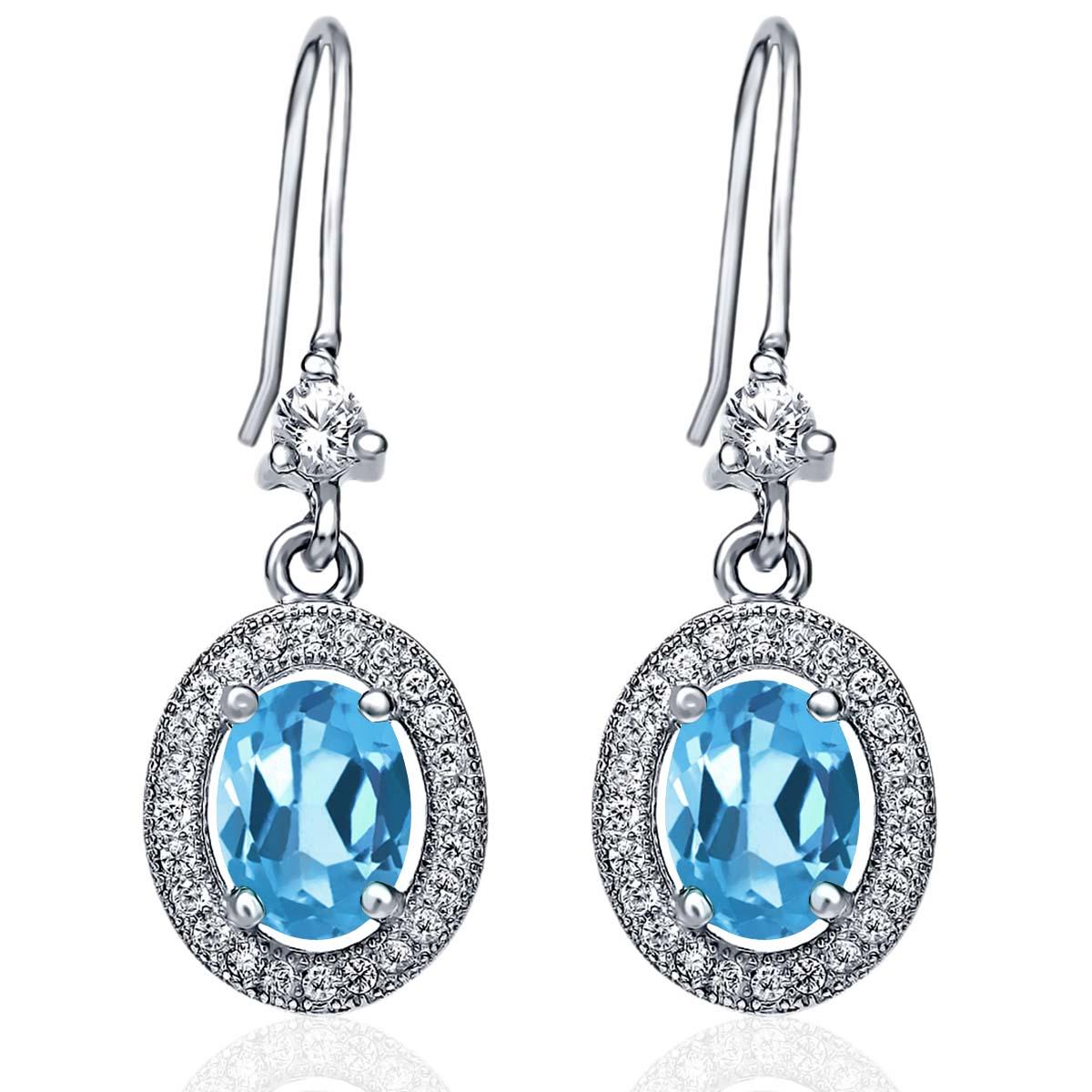 3.72 Ct Oval Swiss Blue Topaz 925 Sterling Silver Earrings