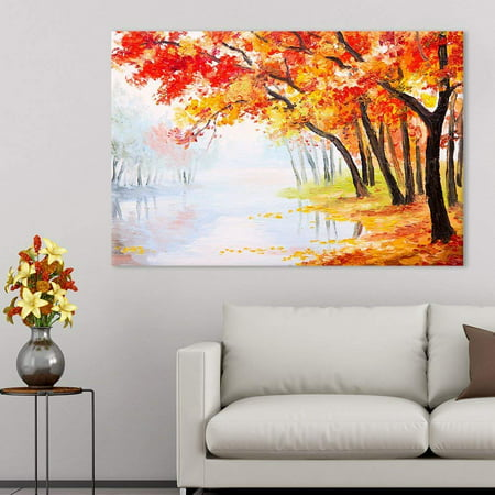 Lake Oil Painting (wall26 Canvas Prints Wall Art - Oil Painting Landscape - Autumn Forest Near The Lake, Orange Leaves | Modern Wall Decor/Home Decoration Stretched Gallery Canvas Wrap Print. Ready to Hang -12x18 )