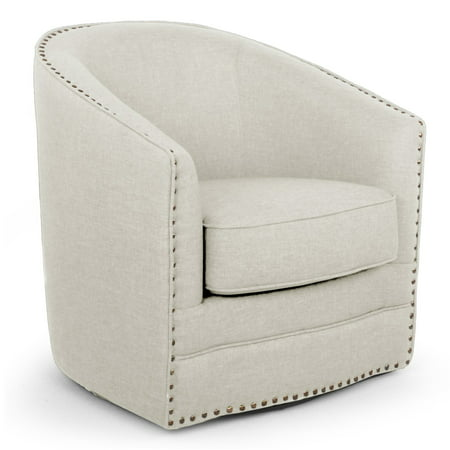 Baxton Studio Porter Modern and Contemporary Classic Retro Beige Fabric Upholstered Swivel Tub Chair ()