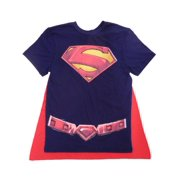 superman logo men's graphic tee with cape