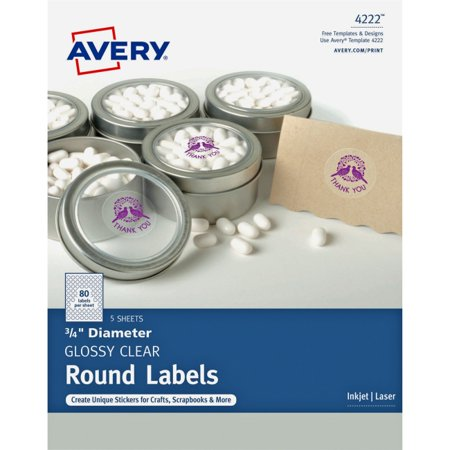 Avery Clear Glossy Print-to-the-Edge Round Labels - Permanent Adhesive - 3/4