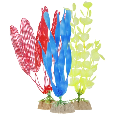 (2 Pack) GloFish Yellow, Orange & Blue Aquarium Plant Decoration, Large
