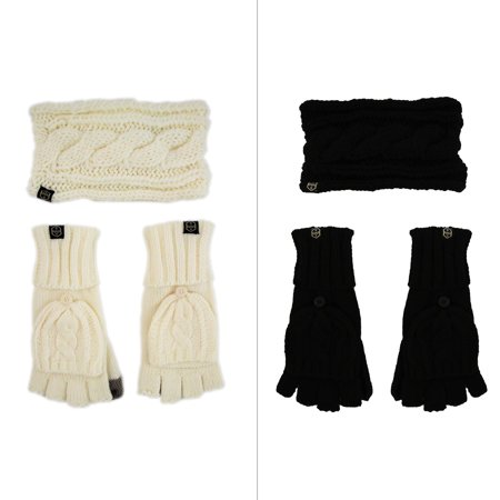 Khombu Womens Cable Knit Headwrap and Glove Gift Set with Flip top Glove and Touch Thumb