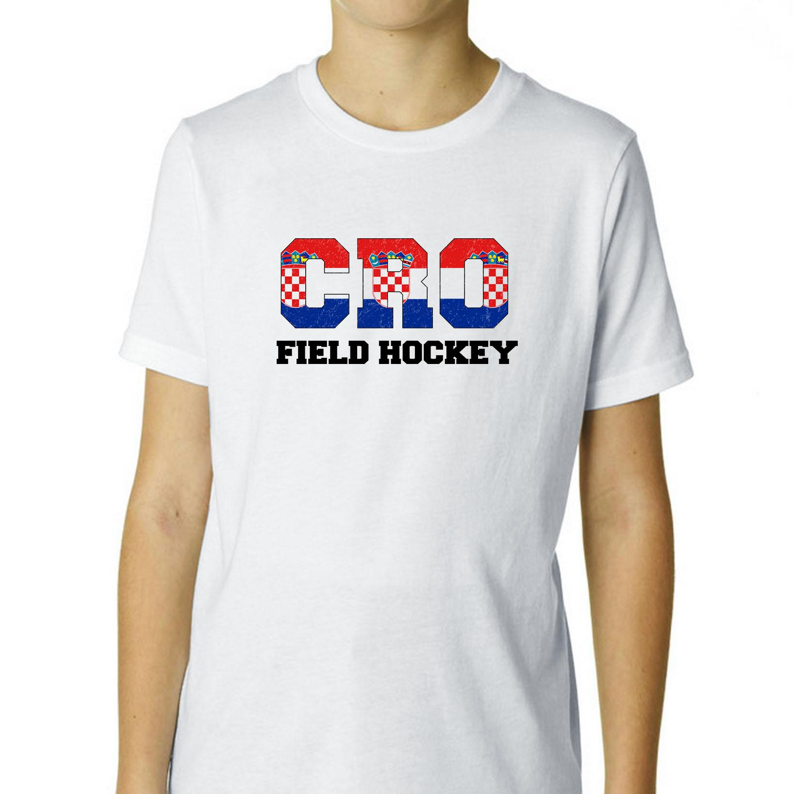 Croatia Field Hockey Olympic Games Rio Flag Boy's Cotton Youth T-Shirt by Hollywood Thread