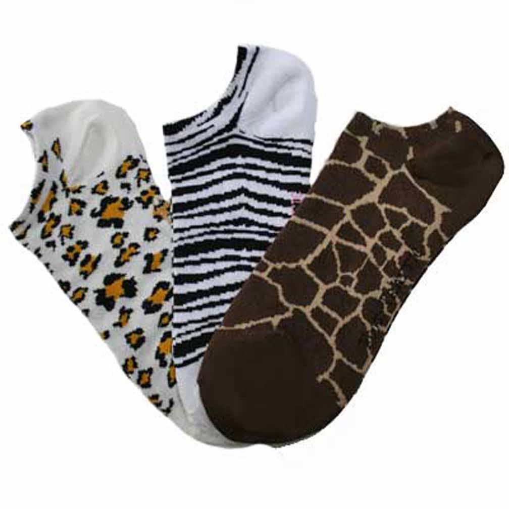 Luxury Divas Leopard Giraffe Zebra 3 Pair No Show Ankle Socks