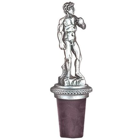 Michelangelo's David Bottle Stopper | Cast in Solid Fine Pewter | Synthetic Cork Will Not Stain or Crack | Detailed Fine Pewter Medallion | 1 Piece Pewter Wine Stopper