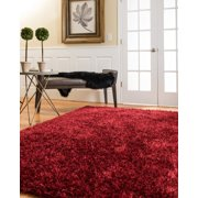 Natural Area Rugs Shag Hand-Woven Red Carnation Area Rug