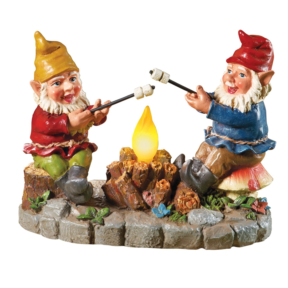 Collections Etc. Solar Campfire Light Garden Gnomes, with Hand-painted Details and Bright Colors, Multi