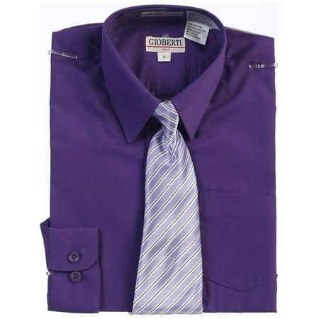 Little Boys Dark Purple Button Up Dress Shirt Striped Tie Set 2T-7 (Dress Up Cute Boys)