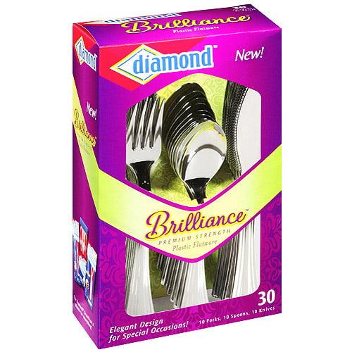 Diamond Brilliance Plastic Flatware, 30 ct