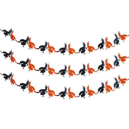 Halloween Paper Garland Witch & Pumpkin Hanging Decoration Scary - Scary Witches