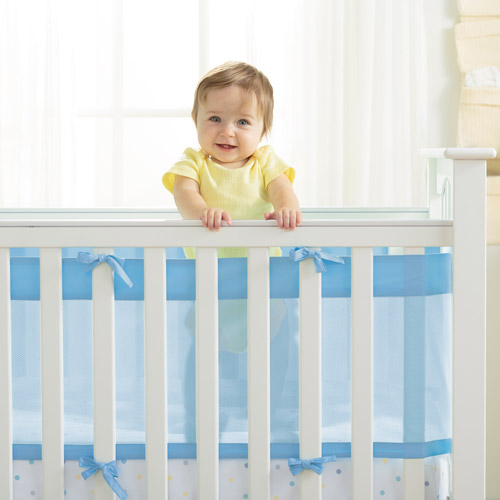 AirFlow Baby 14 inch Mesh Wrap Crib Liner, Available in Multiple Colors