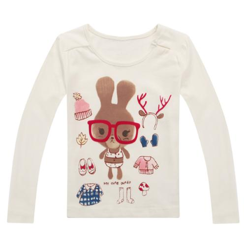 Richie House Girls' Bunny's Cute Outfit Top RH0648