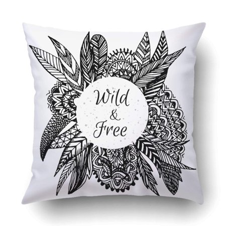 bf038d0dfb6c4 BPBOP Hand drawn boho doodle frame art zentangle feather leaves Wild&  Pillowcase Throw Pillow Cover Case 20x20 inches