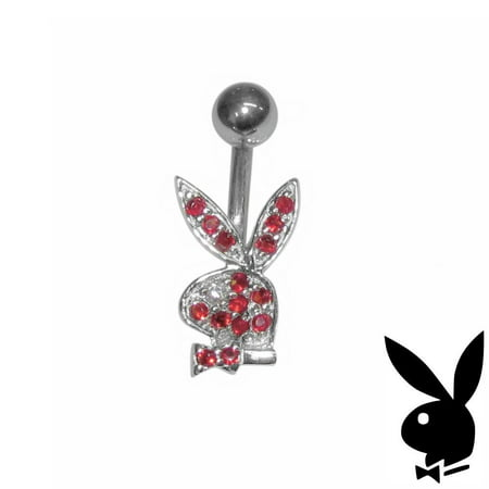 b19680934 Playboy - Playboy Belly Ring Sterling Silver Bunny Red Crystals Surgical  Steel Barbell Body Jewelry - Walmart.com