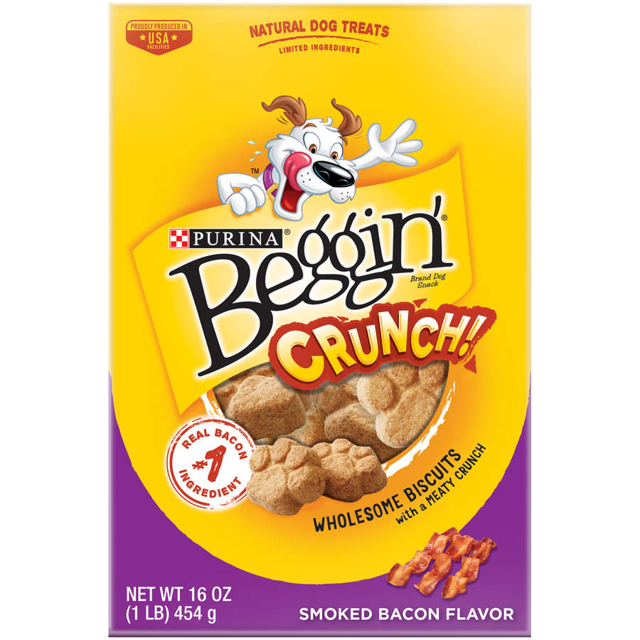 Purina Beggin' Crunch Smoked Bacon Flavor Dog Snacks 16 oz. Pouch