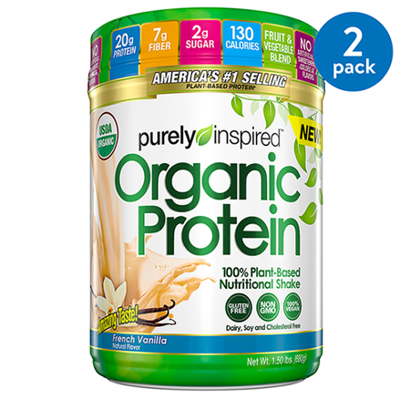 (2 Pack) Purely Inspired Organic Vegan Protein Powder, Vanilla, 20g Protein, 1.5