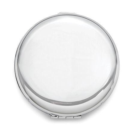 Brass Makeup Compact (Brass with Silver-Tone Compact Mirror - Engravable Personalized Gift Item)