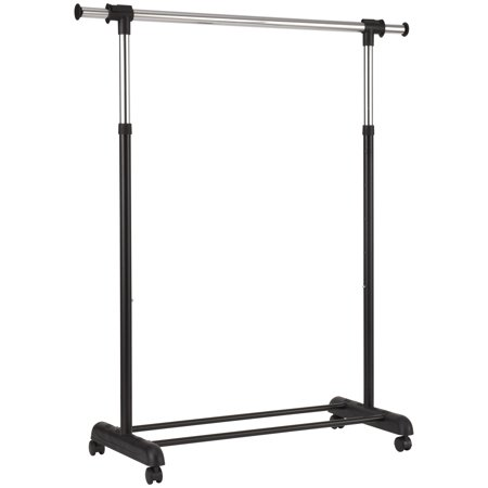 Mainstays Adjustable Rolling Garment Rack, Chrome & Black
