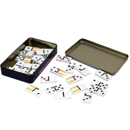 Double 6 Dominoes Game Set   28 Large Sized Plastic Classic Dominos