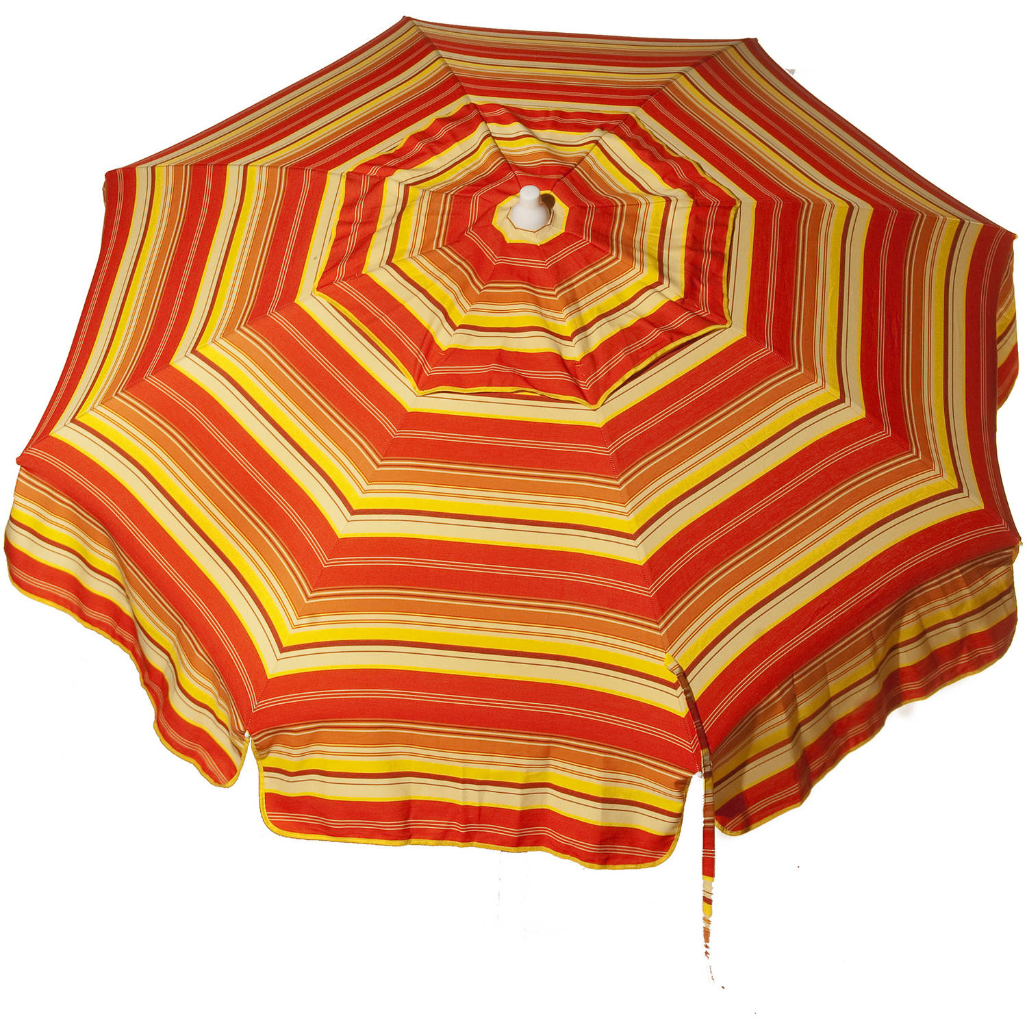 DestinationGear Italian 6' Umbrella Acrylic Stripes Red, Orange and Yellow Patio Pole