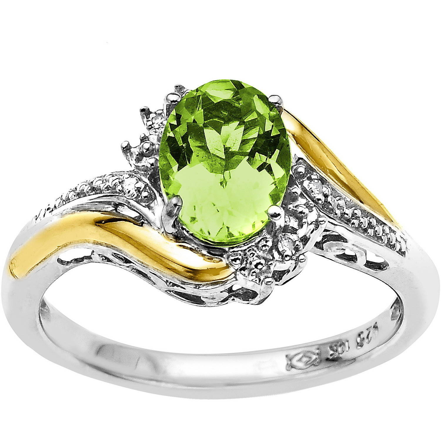 Duet Sterling Silver with 10kt Yellow Gold Oval Peridot and Diamond Accent Ring