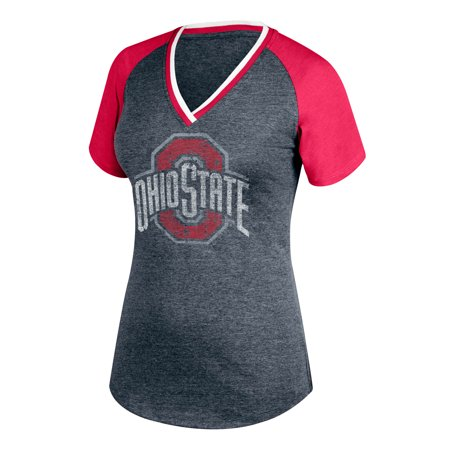 Women's Heathered Gray/Scarlet Ohio State Buckeyes Double Play V-Neck T-Shirt